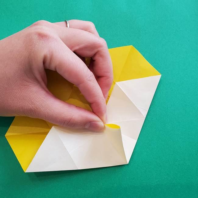 水仙の折り紙 平面の折り方作り方②花(18)