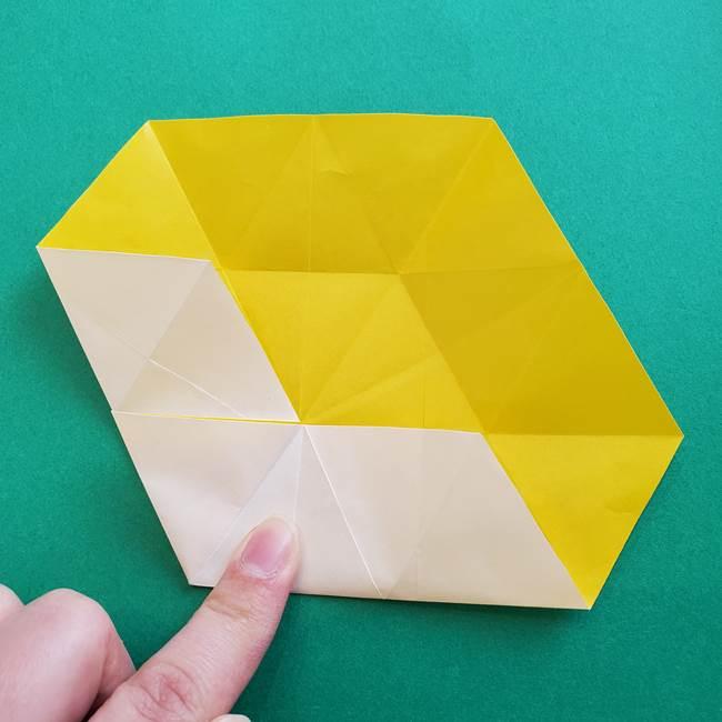 水仙の折り紙 平面の折り方作り方②花(20)