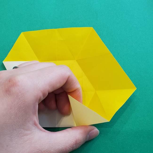 水仙の折り紙 平面の折り方作り方②花(21)