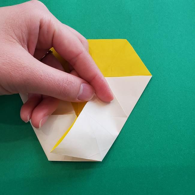 水仙の折り紙 平面の折り方作り方②花(22)