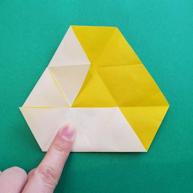 水仙の折り紙 平面の折り方作り方②花(24)