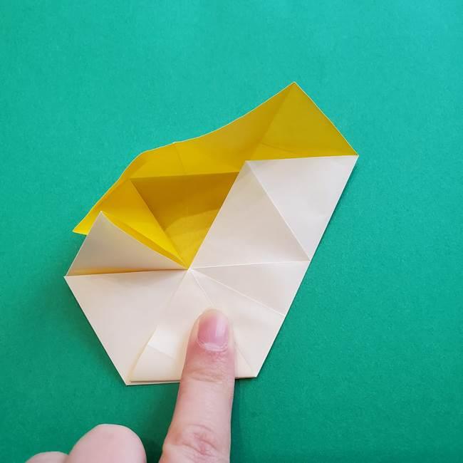 水仙の折り紙 平面の折り方作り方②花(28)