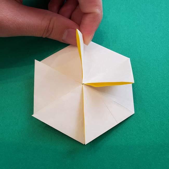 水仙の折り紙 平面の折り方作り方②花(35)