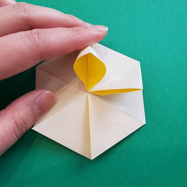 水仙の折り紙 平面の折り方作り方②花(36)