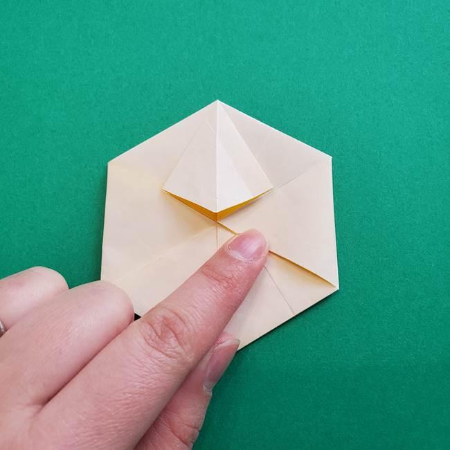 水仙の折り紙 平面の折り方作り方②花(37)