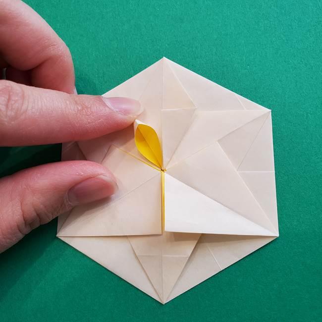 水仙の折り紙 平面の折り方作り方②花(45)