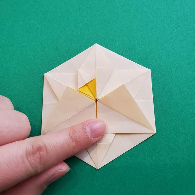 水仙の折り紙 平面の折り方作り方②花(46)