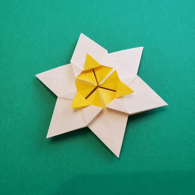 水仙の折り紙 平面の折り方作り方②花(57)