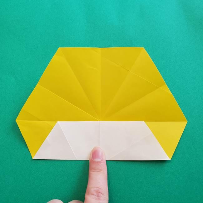 水仙の折り紙 平面の折り方作り方②花(6)