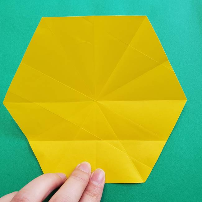 水仙の折り紙 平面の折り方作り方②花(7)