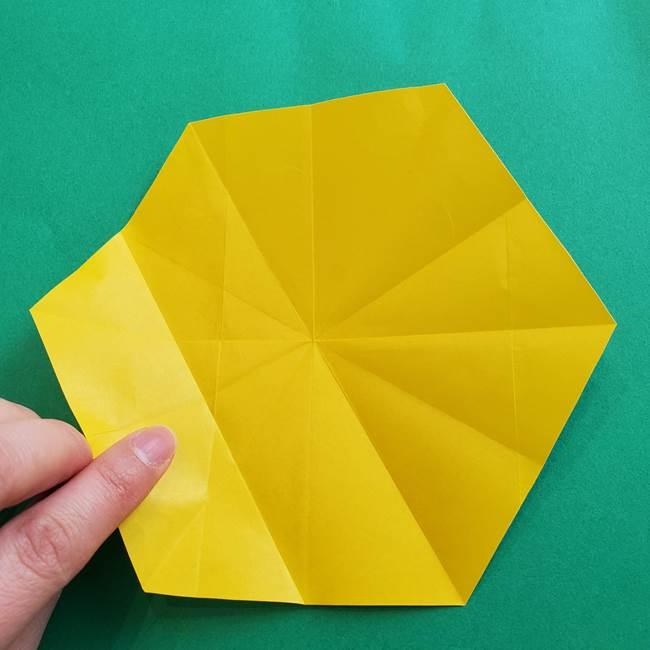 水仙の折り紙 平面の折り方作り方②花(8)