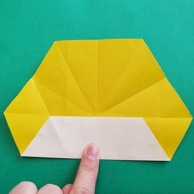 水仙の折り紙 平面の折り方作り方②花(9)