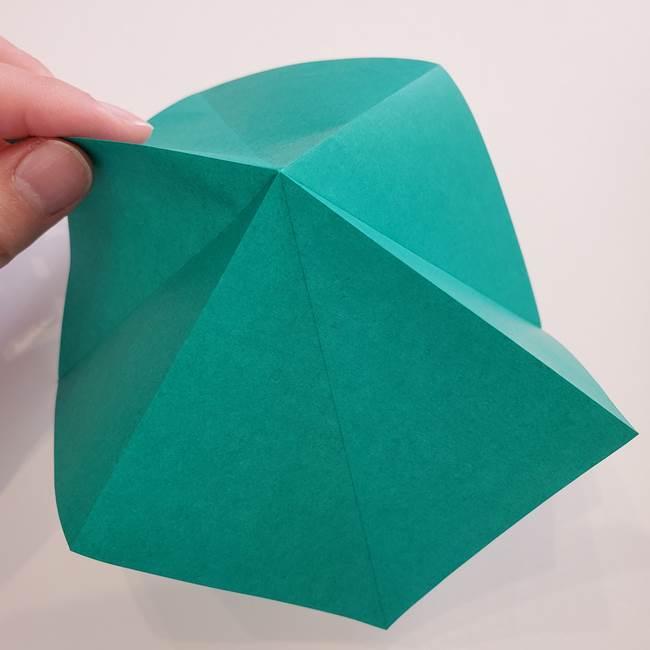 紫陽花の折り紙 葉っぱの作り方折り方(10)