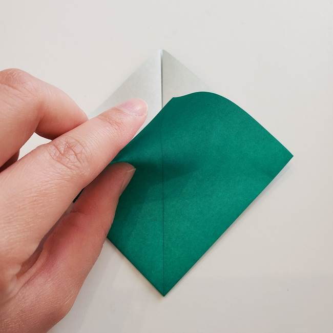 紫陽花の折り紙 葉っぱの作り方折り方(11)