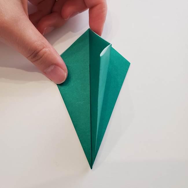 紫陽花の折り紙 葉っぱの作り方折り方(15)