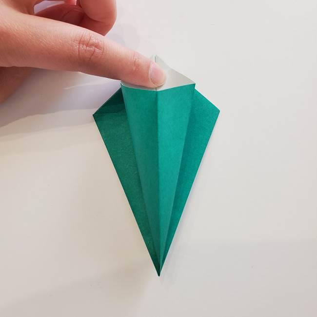 紫陽花の折り紙 葉っぱの作り方折り方(16)