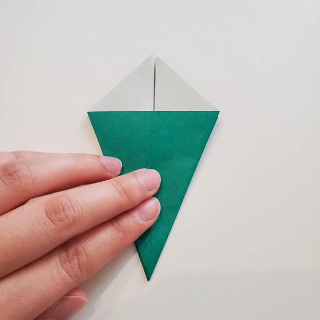 紫陽花の折り紙 葉っぱの作り方折り方(17)