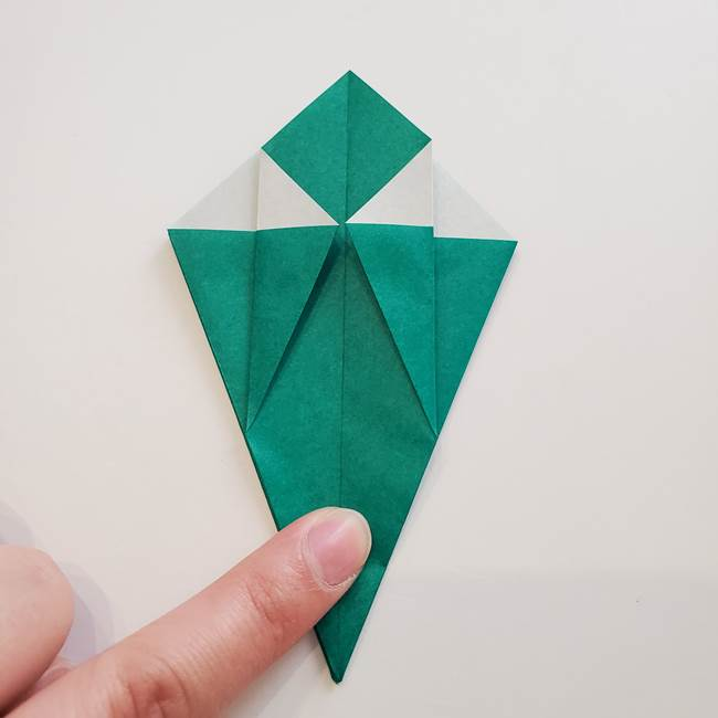紫陽花の折り紙 葉っぱの作り方折り方(23)