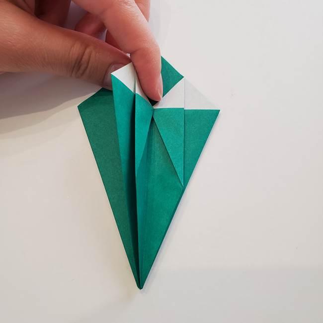 紫陽花の折り紙 葉っぱの作り方折り方(24)