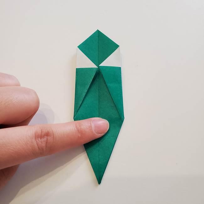 紫陽花の折り紙 葉っぱの作り方折り方(28)