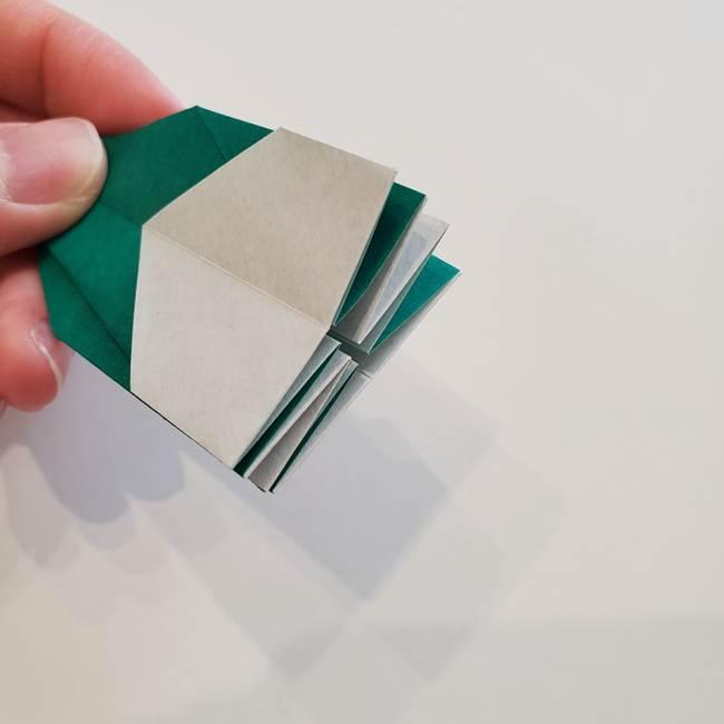 紫陽花の折り紙 葉っぱの作り方折り方(46)