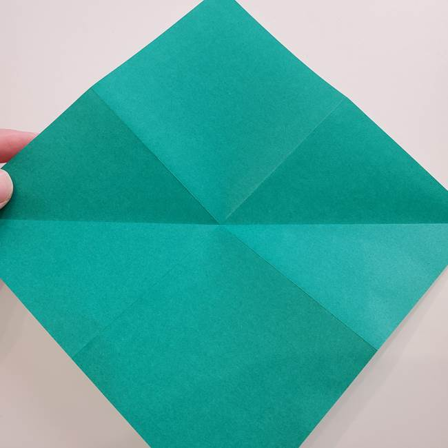 紫陽花の折り紙 葉っぱの作り方折り方(7)