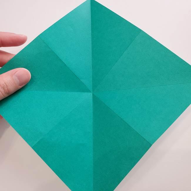 紫陽花の折り紙 葉っぱの作り方折り方(9)
