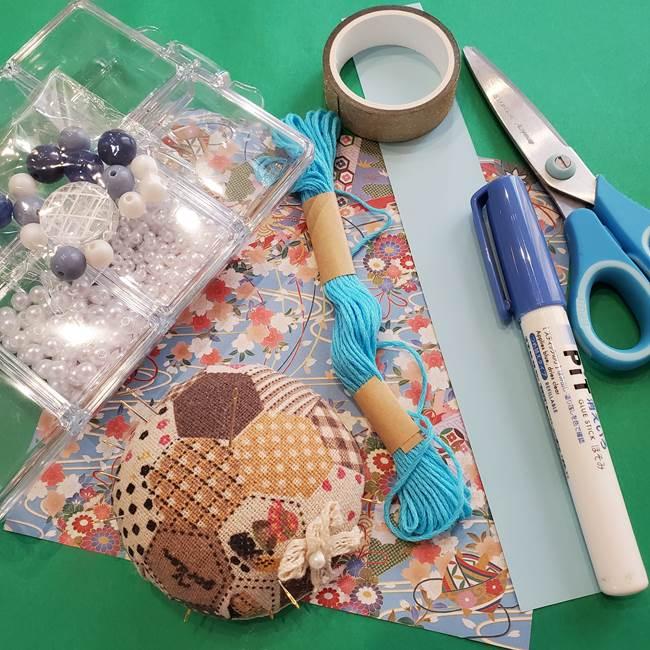 金魚の吊るし飾りの折り紙*必要なもの②材料
