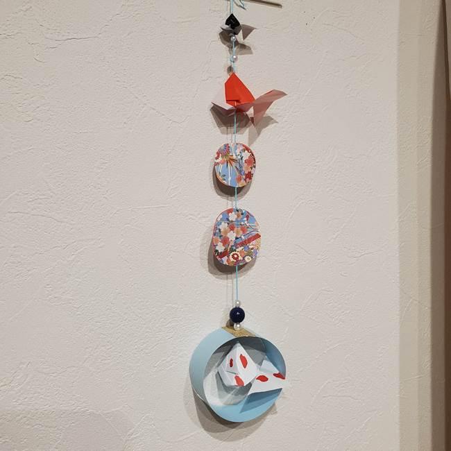 金魚の吊るし飾りの折り紙 作り方折り方飾り付け(2)