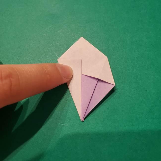 6 月の折り紙 あじさいを立体に折る折り方作り方(15)