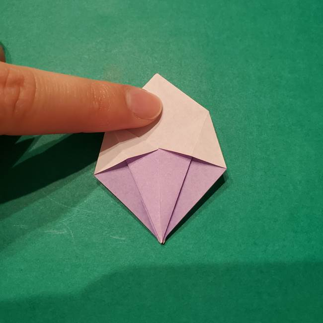 6 月の折り紙 あじさいを立体に折る折り方作り方(16)