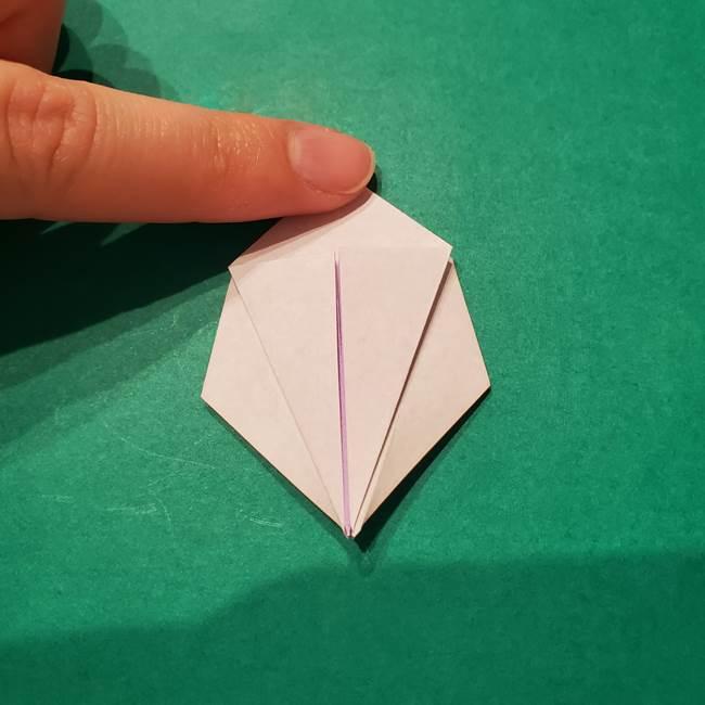 6 月の折り紙 あじさいを立体に折る折り方作り方(17)