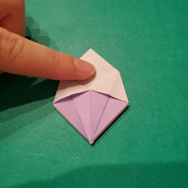 6 月の折り紙 あじさいを立体に折る折り方作り方(18)