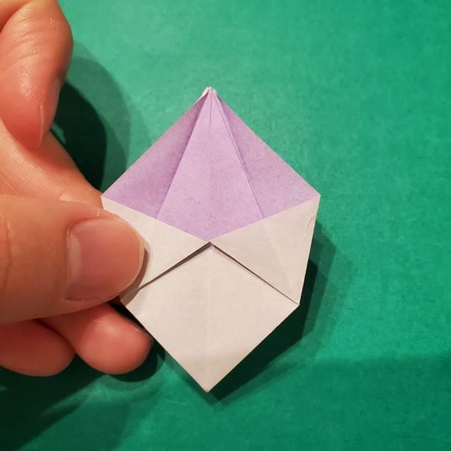 6 月の折り紙 あじさいを立体に折る折り方作り方(19)