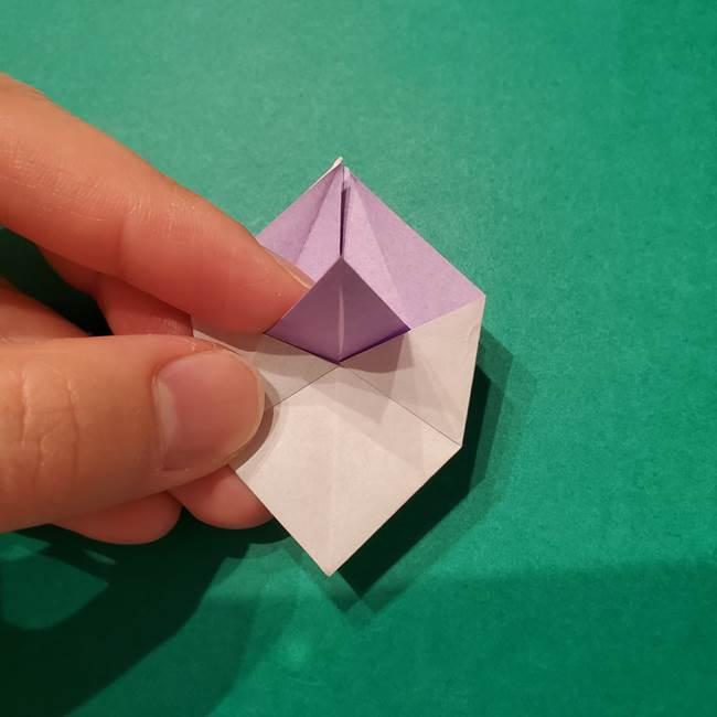 6 月の折り紙 あじさいを立体に折る折り方作り方(20)