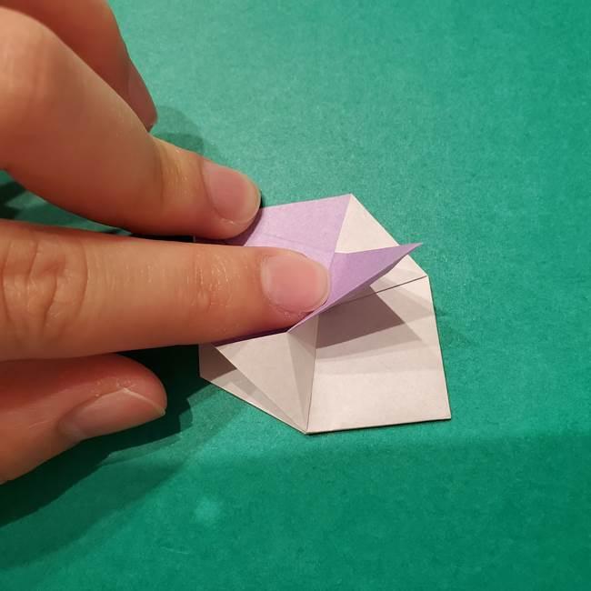 6 月の折り紙 あじさいを立体に折る折り方作り方(21)