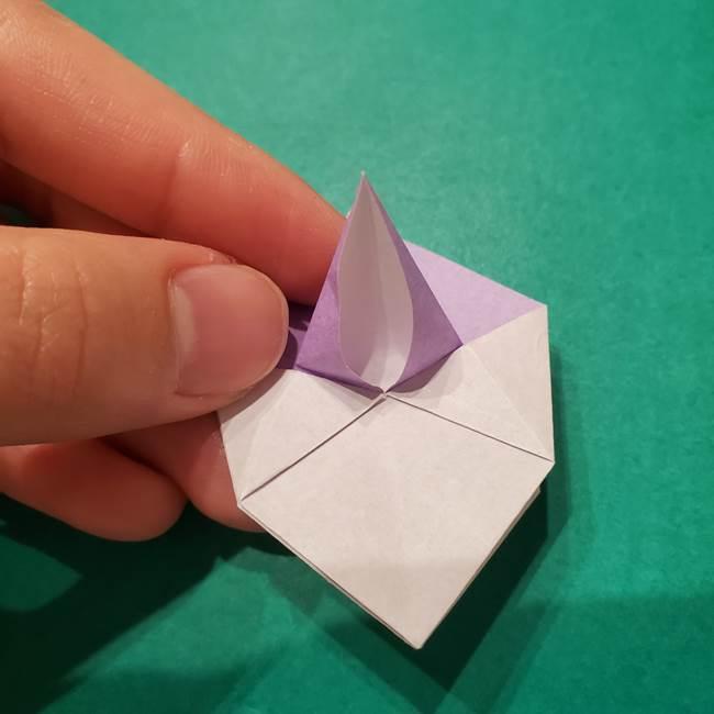 6 月の折り紙 あじさいを立体に折る折り方作り方(22)