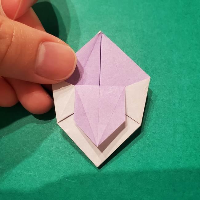 6 月の折り紙 あじさいを立体に折る折り方作り方(23)