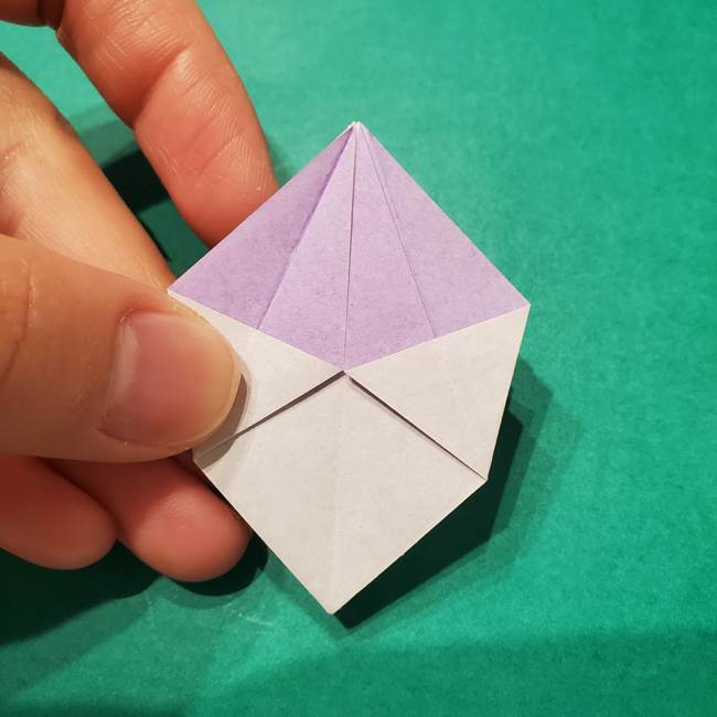 6 月の折り紙 あじさいを立体に折る折り方作り方(24)