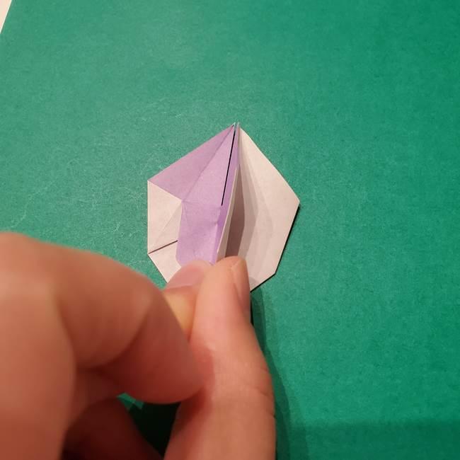 6 月の折り紙 あじさいを立体に折る折り方作り方(26)