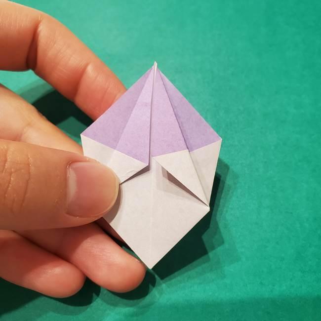 6 月の折り紙 あじさいを立体に折る折り方作り方(28)