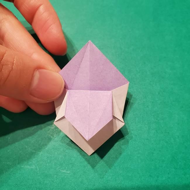 6 月の折り紙 あじさいを立体に折る折り方作り方(29)