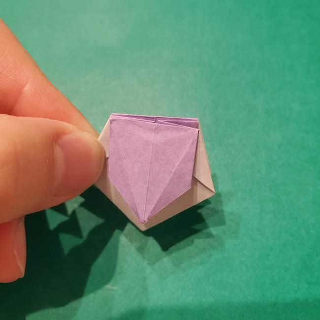 6 月の折り紙 あじさいを立体に折る折り方作り方(30)