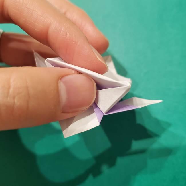 6 月の折り紙 あじさいを立体に折る折り方作り方(34)