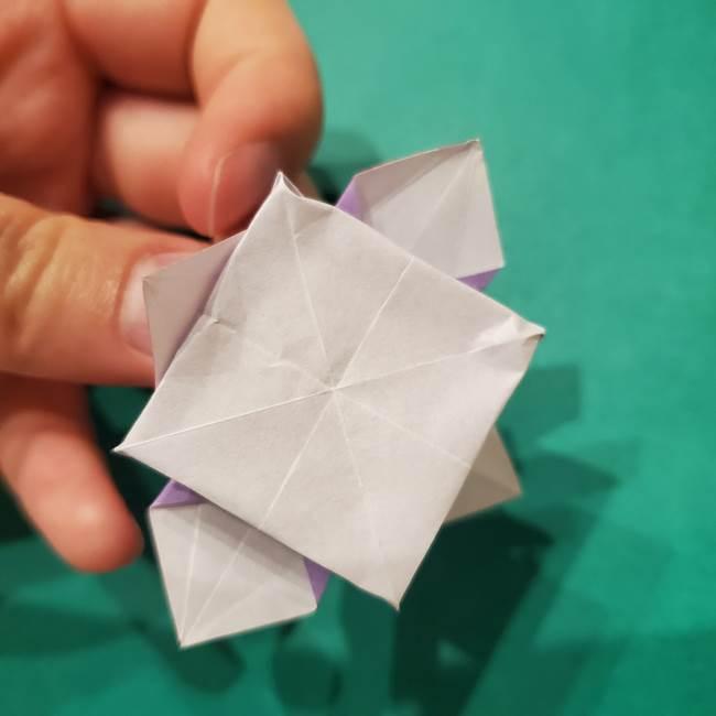 6 月の折り紙 あじさいを立体に折る折り方作り方(35)