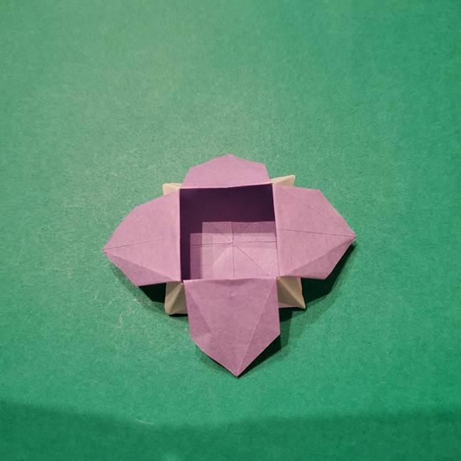 6 月の折り紙 あじさいを立体に折る折り方作り方(36)