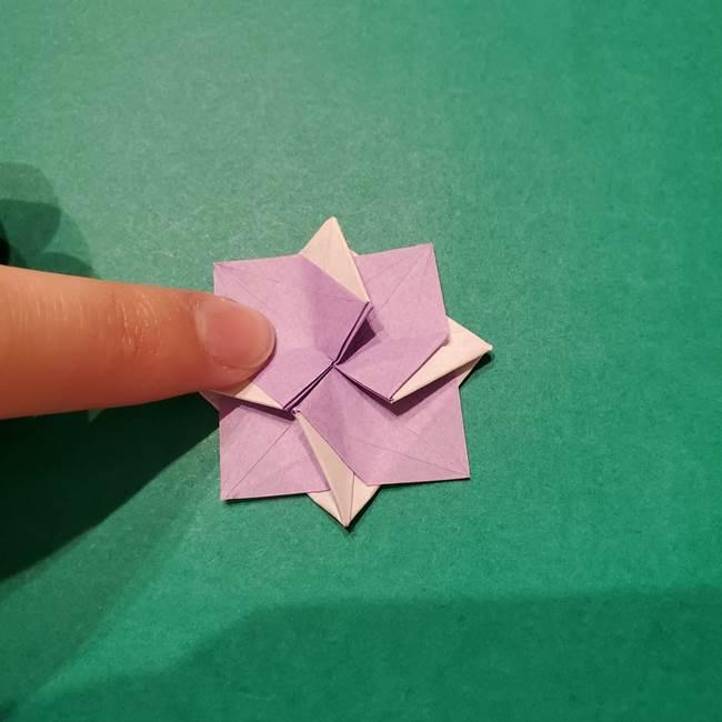 6 月の折り紙 あじさいを立体に折る折り方作り方(39)