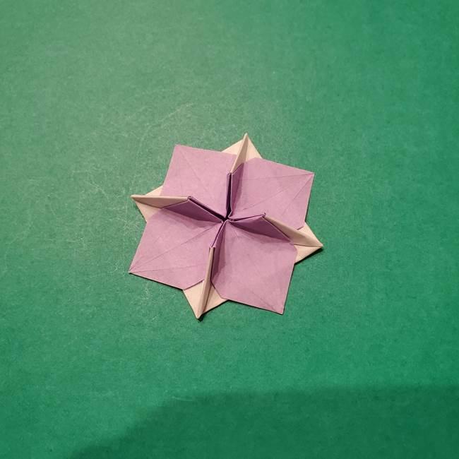 6 月の折り紙 あじさいを立体に折る折り方作り方(40)