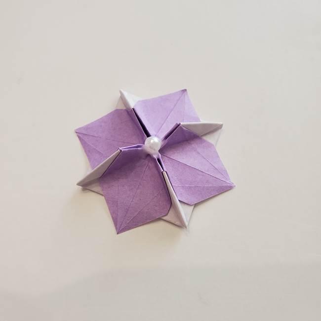 6 月の折り紙 あじさいを立体に折る折り方作り方(41)