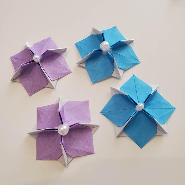 6 月の折り紙 あじさいを立体に折る折り方作り方(42)